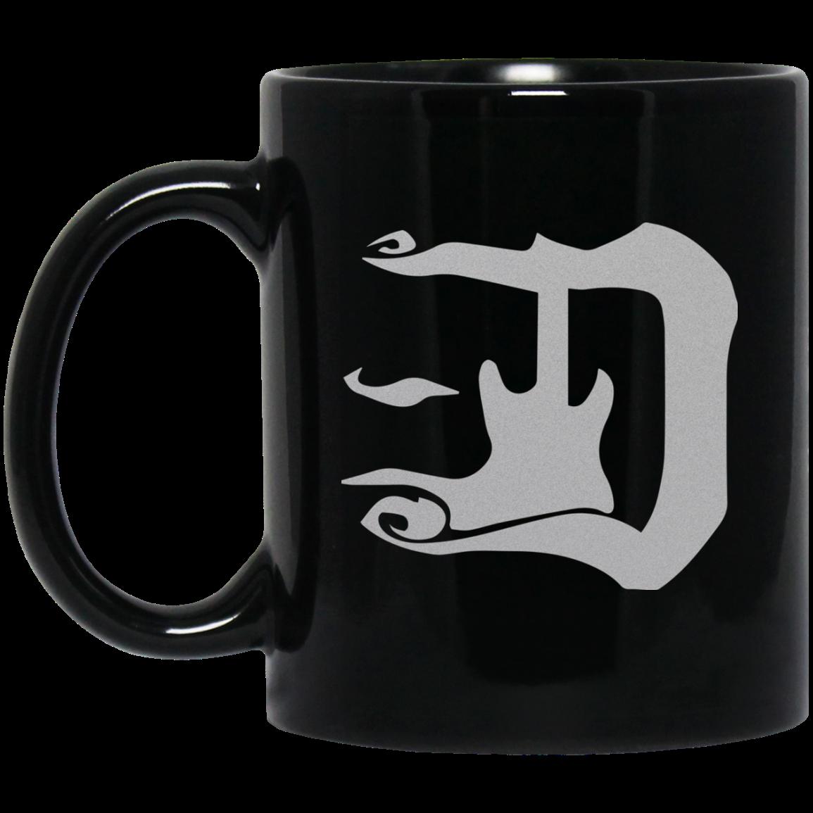 guitar d silver logo 11 oz black mug welcome to the d